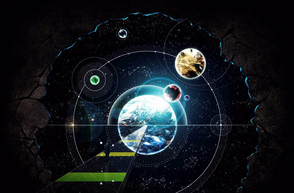 Stock Photo: 1849-3257 Businessman standing on path looking at planets and stars