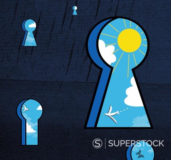 Birds, sky and sun visible through various keyholes : Stock Photo
