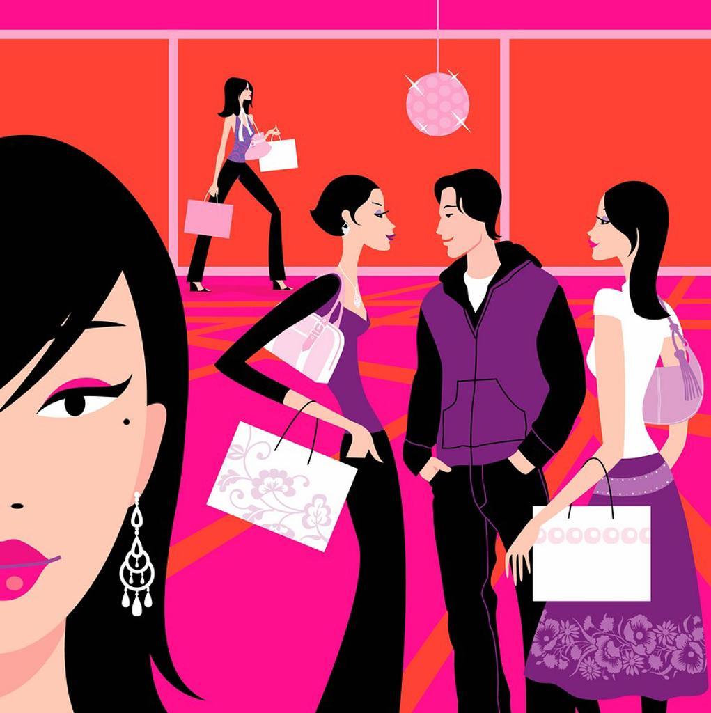 Stock Photo: 1849-3334 Women in mall carrying shopping bags