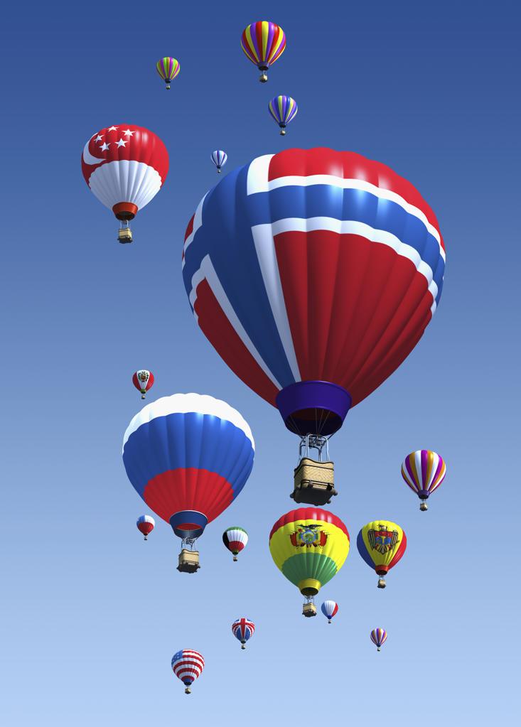 Stock Photo: 1849-336 International flag hot air balloons