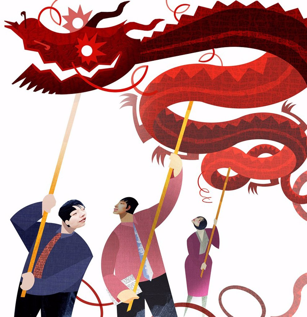 Stock Photo: 1849-3375 Chinese business people supporting dragon