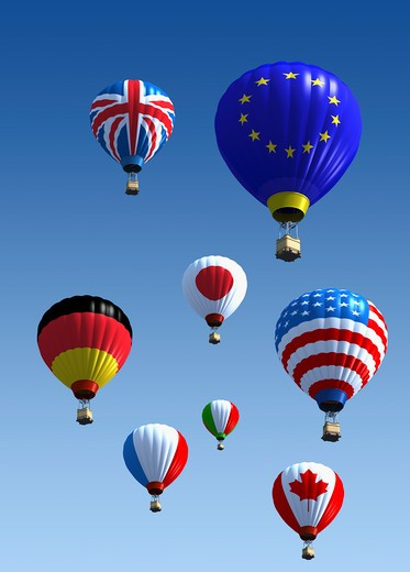 International flag hot air balloons : Stock Photo