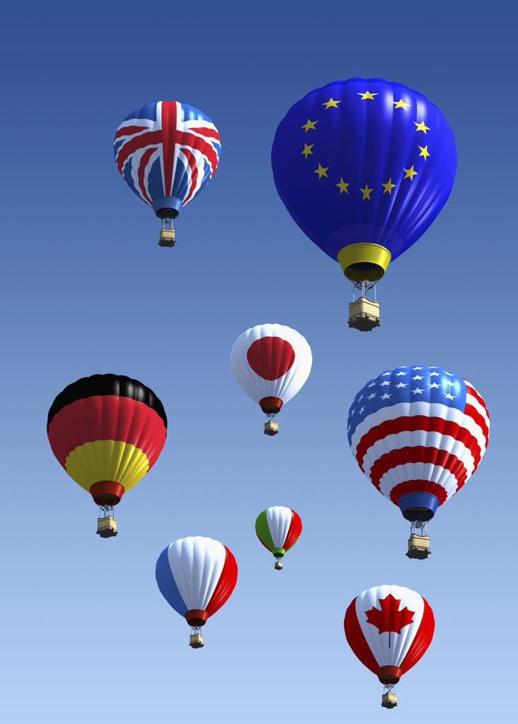 Stock Photo: 1849-338 International flag hot air balloons