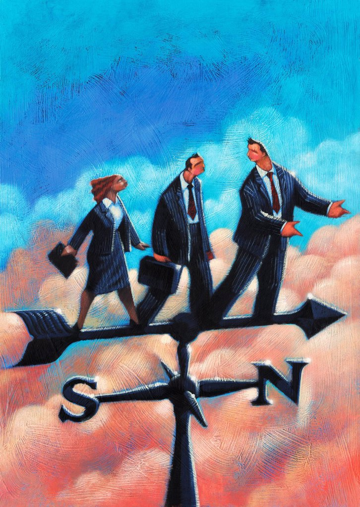 Business people standing on weather vane : Stock Photo