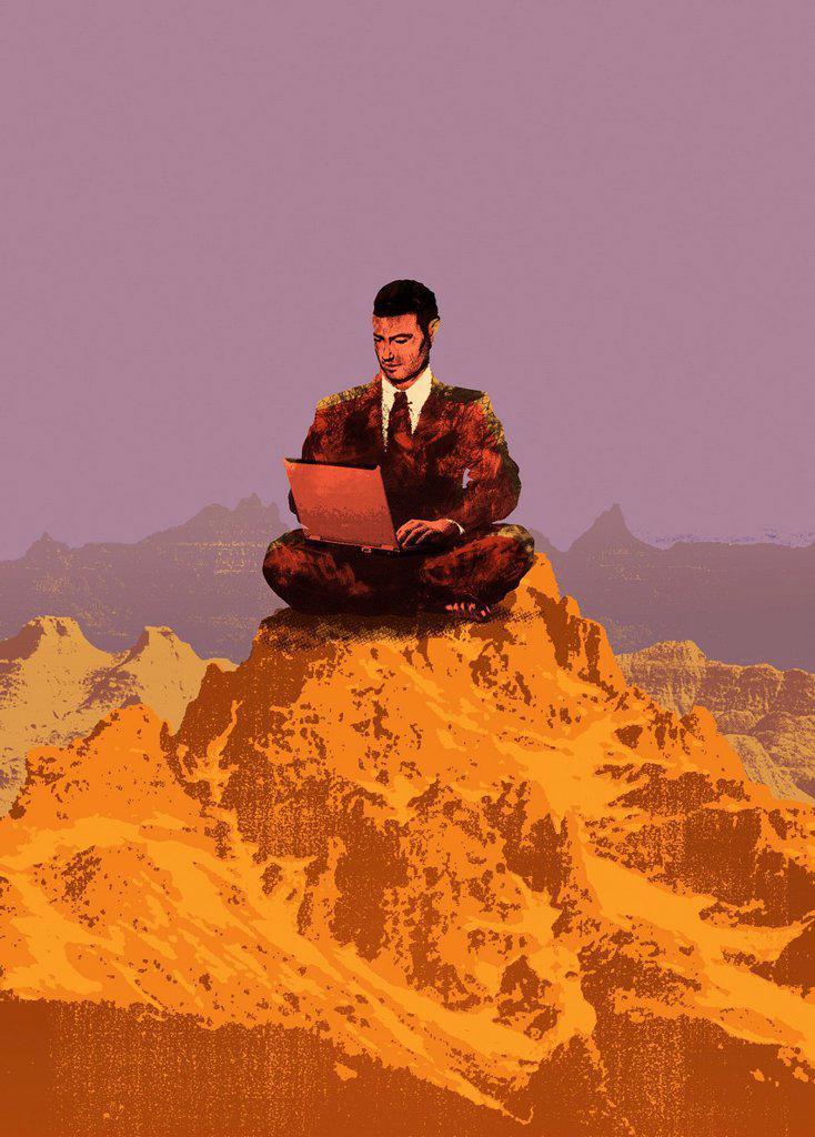 Stock Photo: 1849-3421 Businessman using laptop on mountain