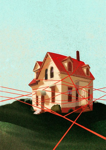 House tied with red tape : Stock Photo
