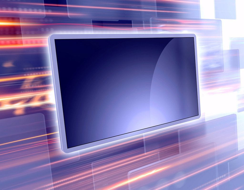 Stock Photo: 1849-3643 Screen technology with light trails