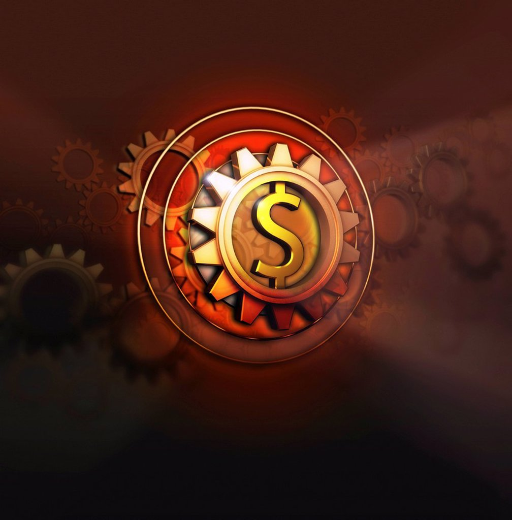Dollar symbol in centre of cog : Stock Photo