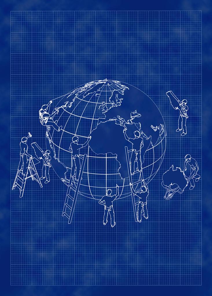 People working on globe : Stock Photo