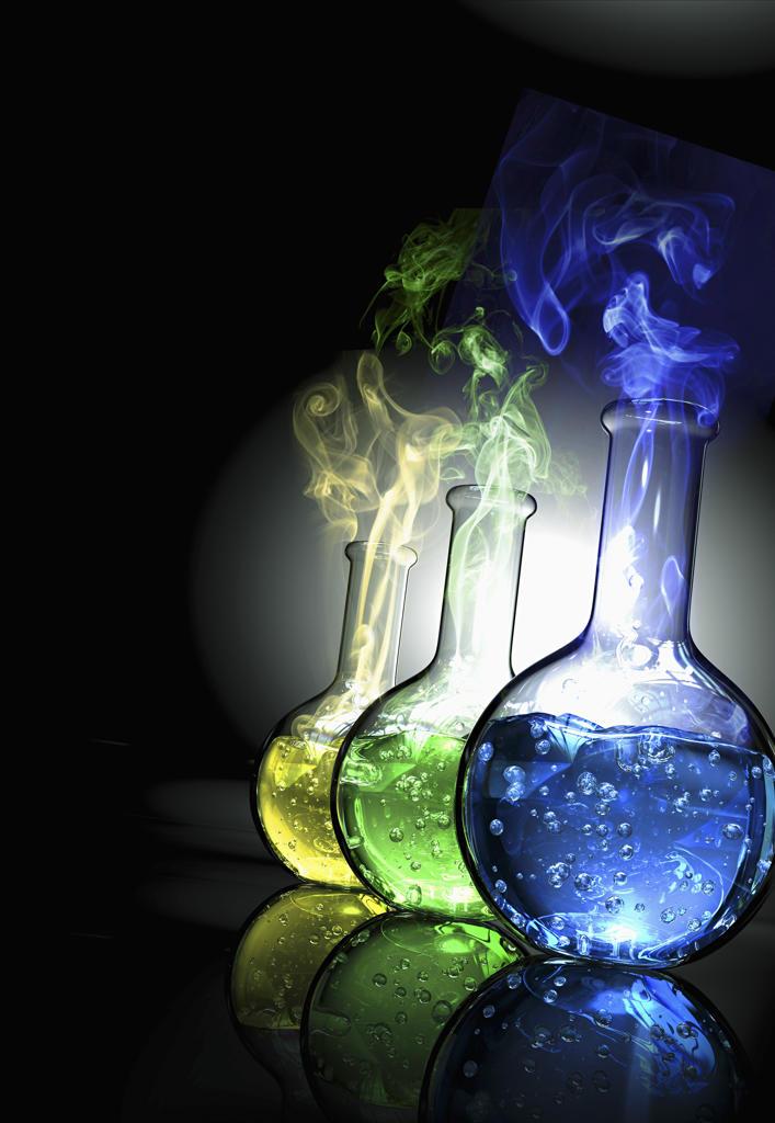 Beakers with smoking liquid : Stock Photo