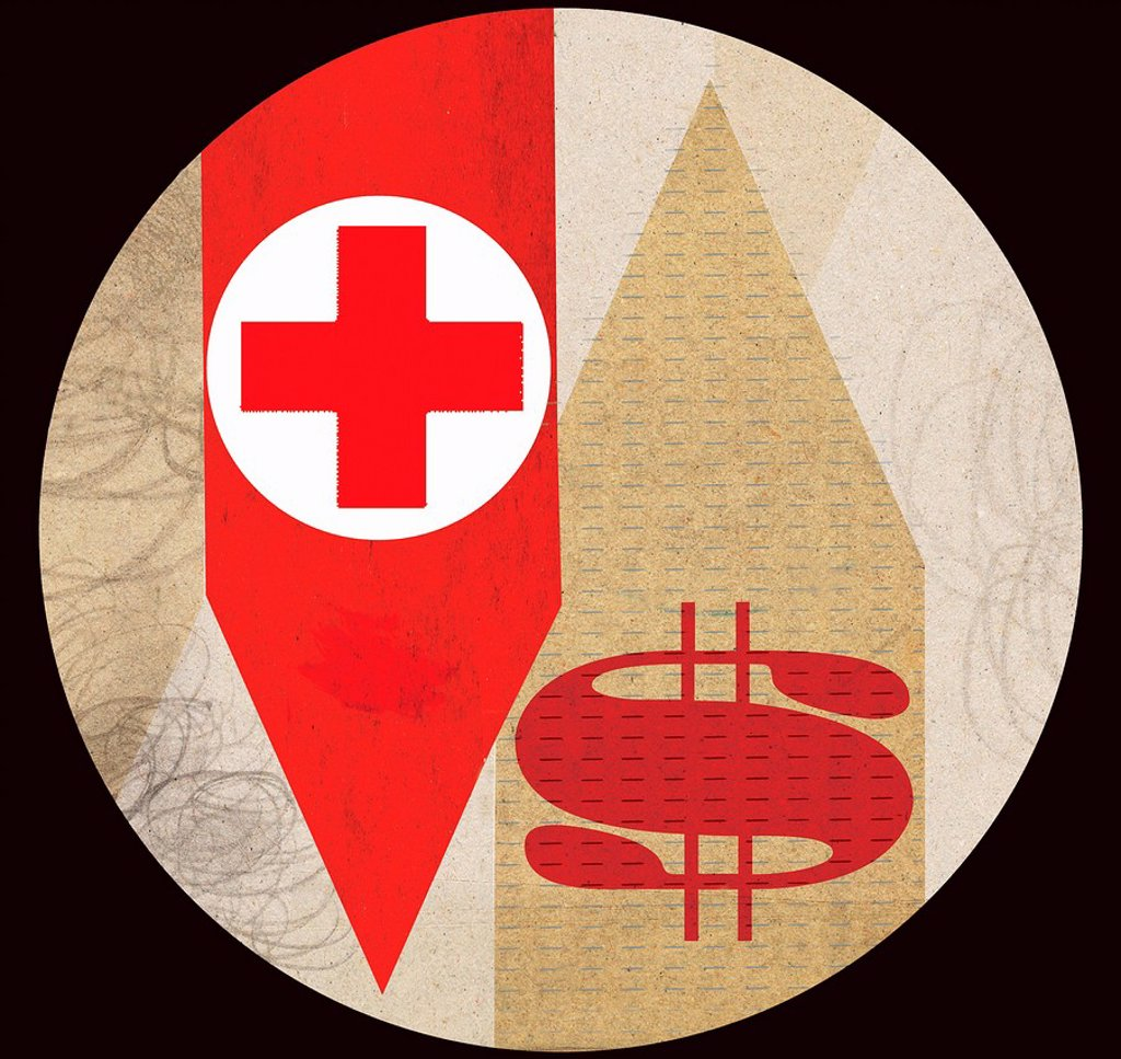 Red cross with dollar sign on arrows : Stock Photo