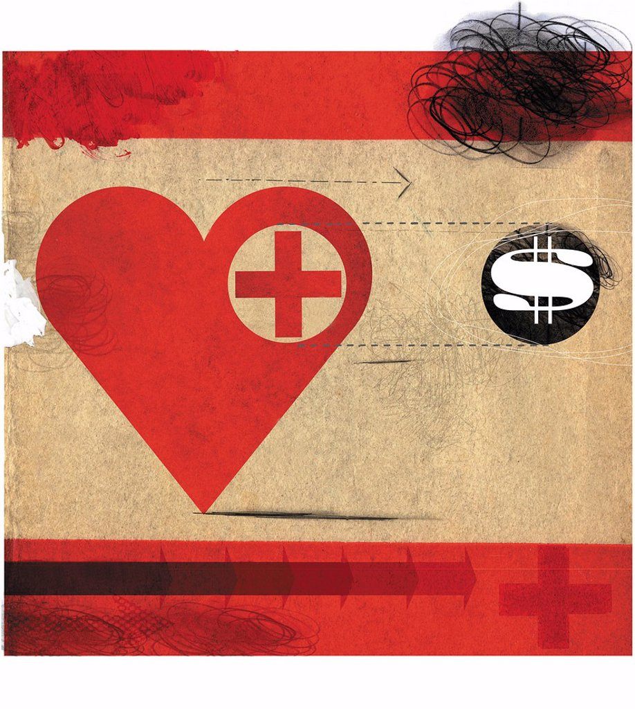 Stock Photo: 1849-4026 Heart with red cross following dollar sign