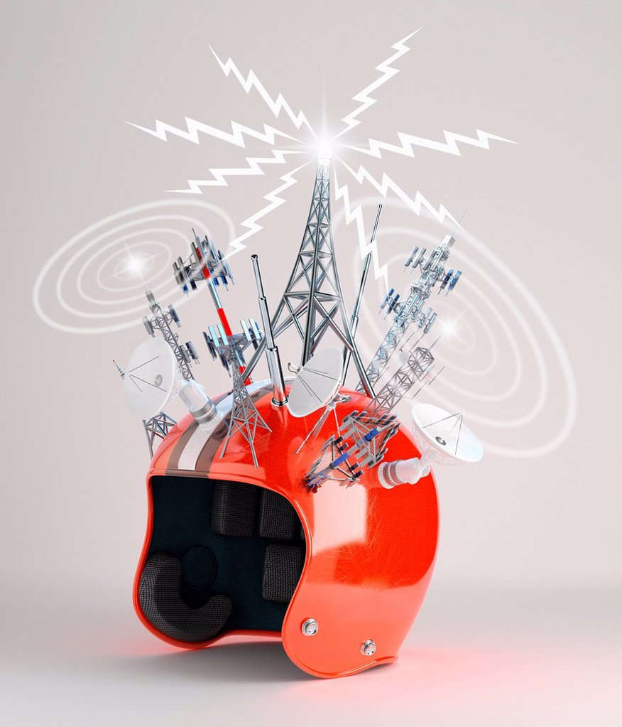 Stock Photo: 1849-4207 Crash helmet covered in satellite communication transmitters and receivers