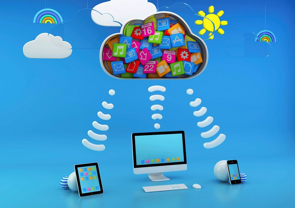 Stock Photo: 1849-4269 Computer and computer tablets connected via apps cloud