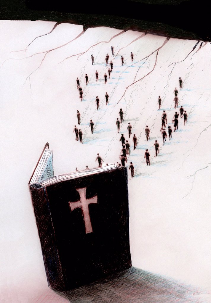 Stock Photo: 1849-4317 Crowd of people walking toward large open bible