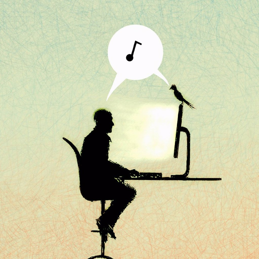 Music note in speech bubble between man and bird on computer : Stock Photo