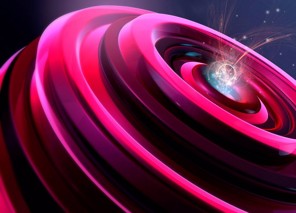 Stock Photo: 1849-4387 Abstract digitally generated pink shape with light trails