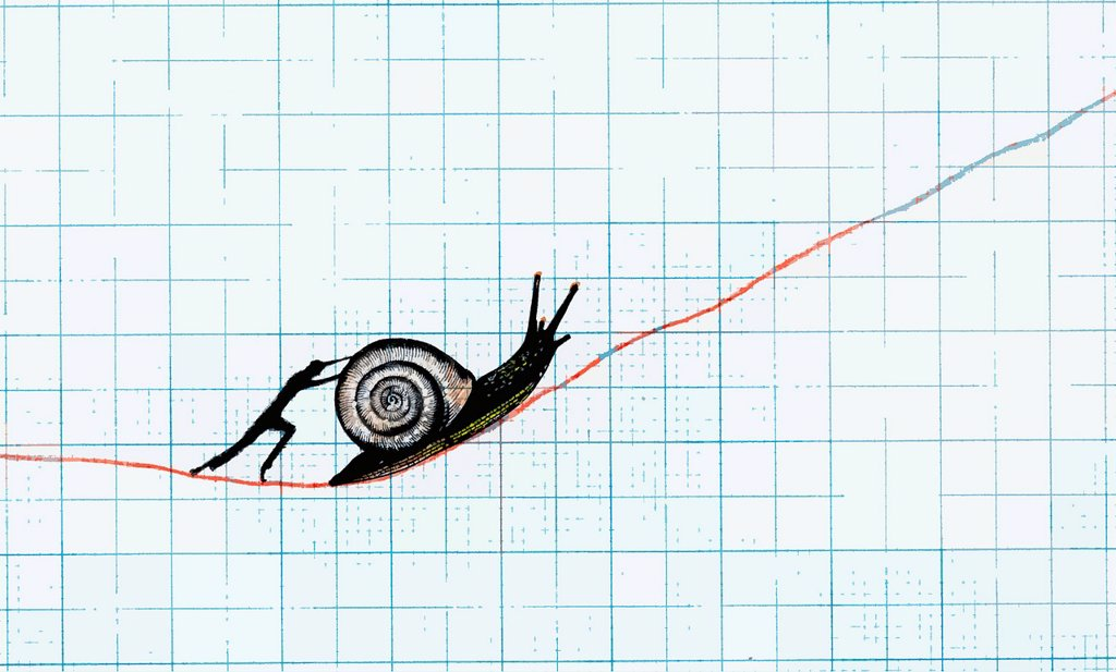 Stock Photo: 1849-4407 Man pushing snail up slowly ascending line on graph