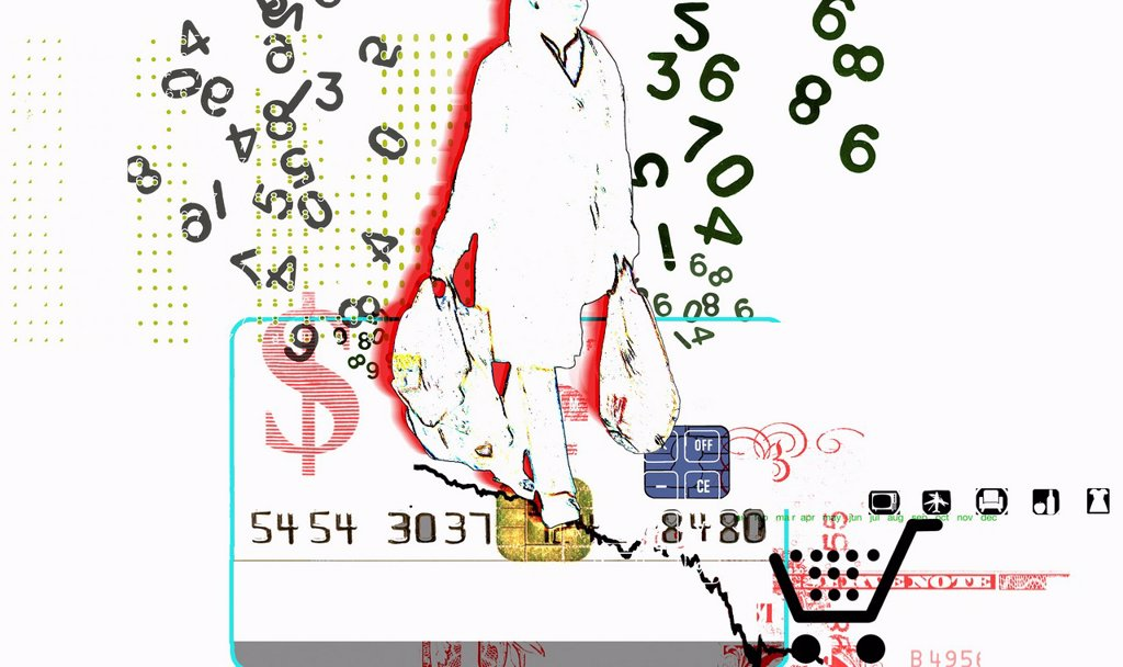Numbers surrounding consumer carrying shopping bags on credit card with dollar sign : Stock Photo