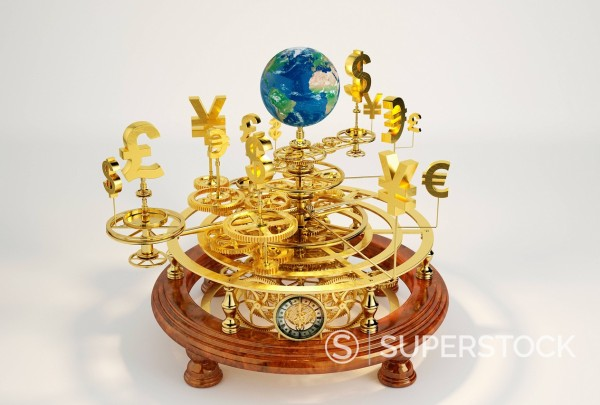 Gold international currency symbols on clockwork orrery around globe : Stock Photo