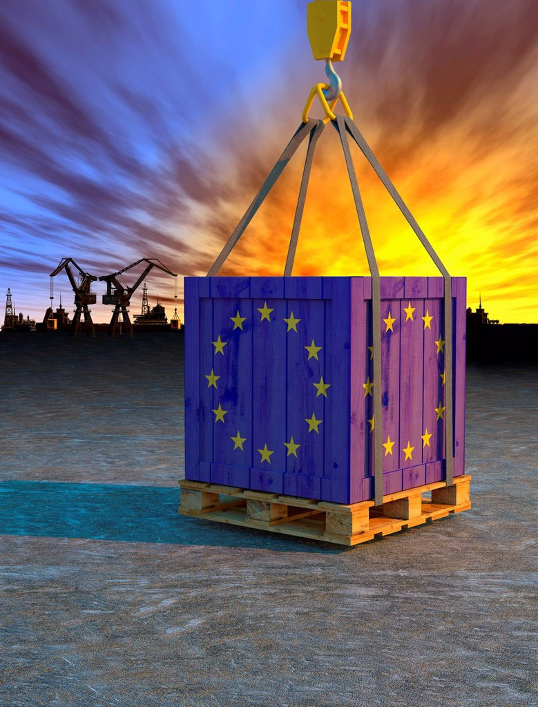 Stock Photo: 1849-4515 Crane lifting crate painted with European Union flag