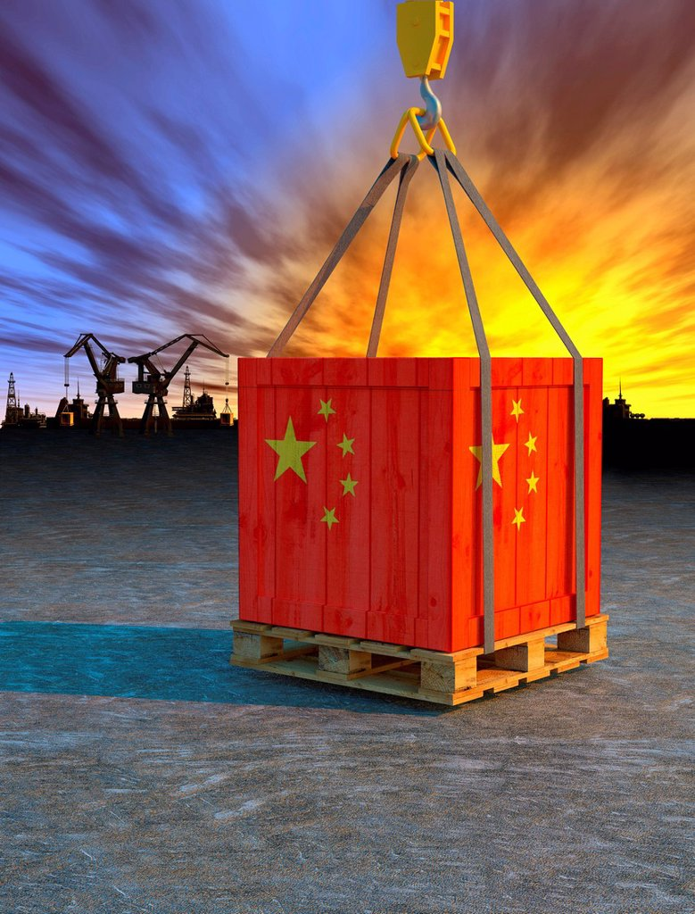 Crane lifting crate painted with Chinese flag : Stock Photo
