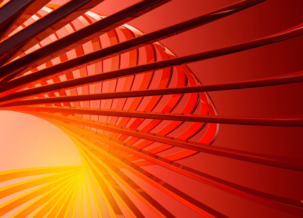 Abstract digitally generated red lines forming spiral shape with yellow center : Stock Photo