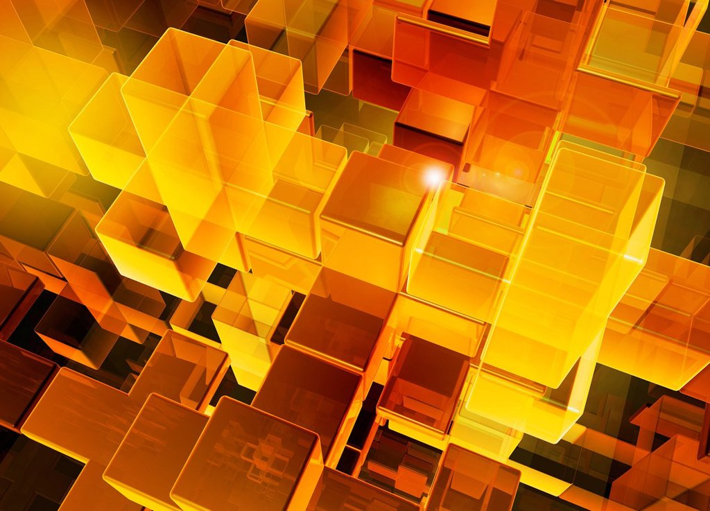 Stock Photo: 1849-4575 Abstract pattern of digitally generated multi_layered transparent orange and yellow cubes