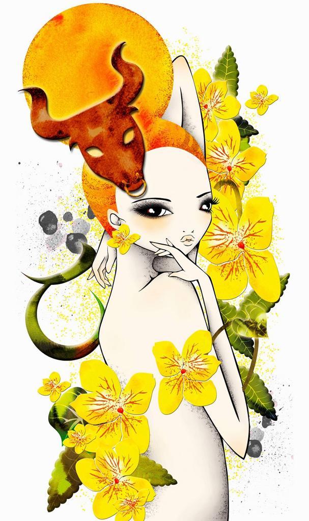 Stock Photo: 1849-4827 Astrology woman with Taurus zodiac symbol
