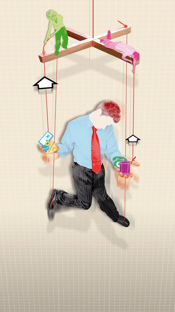 Banker on puppet string : Stock Photo