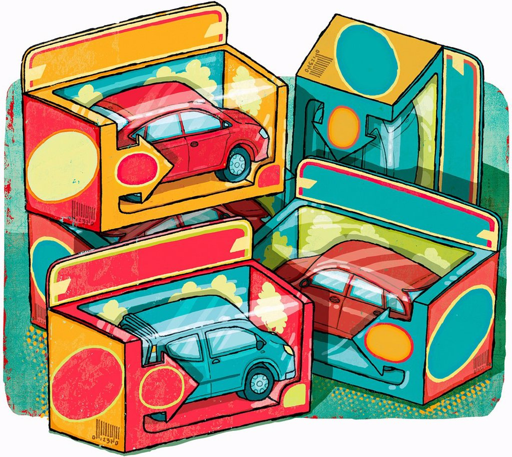 Stock Photo: 1849-4891 Boxes of collectible cars