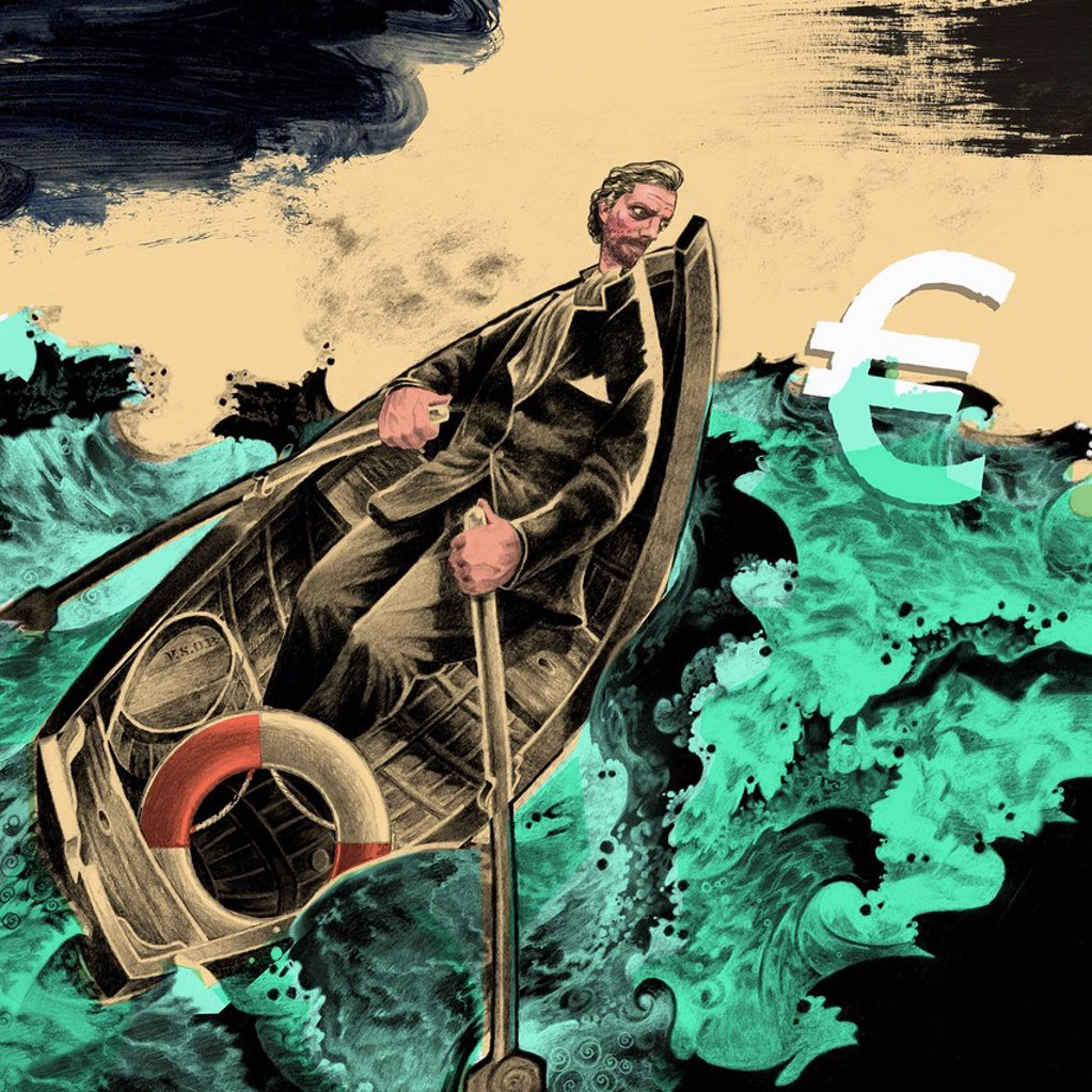 Stock Photo: 1849-4921 Man rowing boat in stormy ocean to rescue euro sign