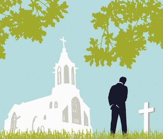 Man visiting graveyard : Stock Photo