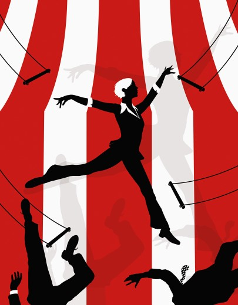 Stock Photo: 1849-499 Businesswoman swinging on trapeze