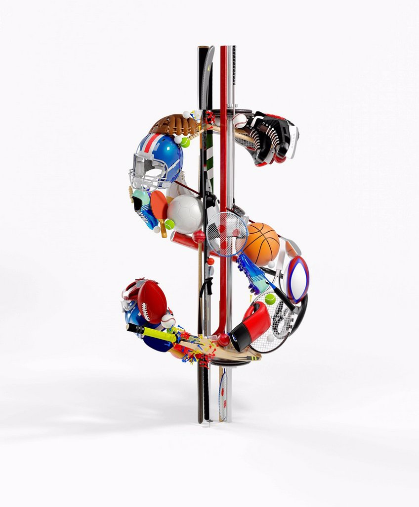Sports equipment arranged in 3d dollar sign : Stock Photo