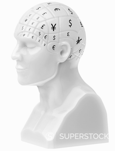 Stock Photo: 1849-5156 Currency symbols covering brain on bust