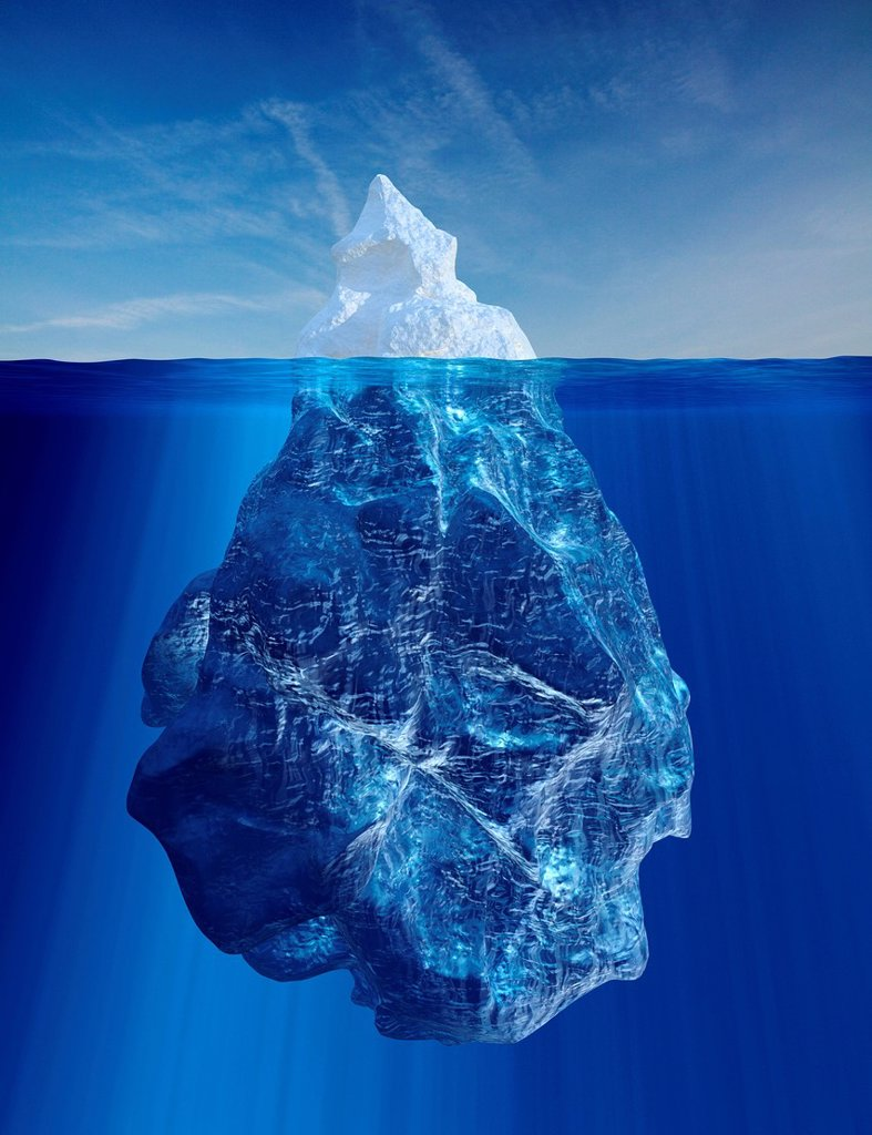 Iceberg above and below water line : Stock Photo