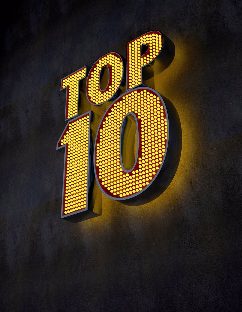 "Stock Photo: 1849-5163 ""Top 10"" illuminated sign"