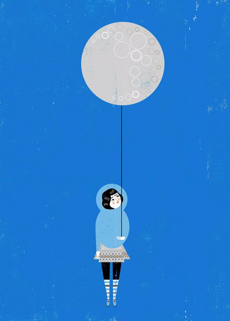 Stock Photo: 1849-5168 Girl holding full moon balloon
