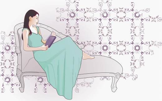 Woman reading on chaise lounge : Stock Photo