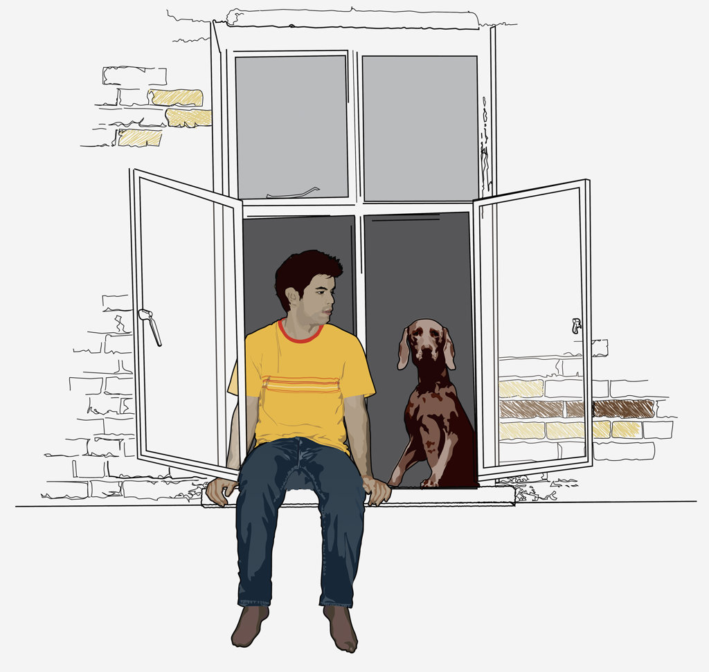 Young man and dog sitting in window : Stock Photo