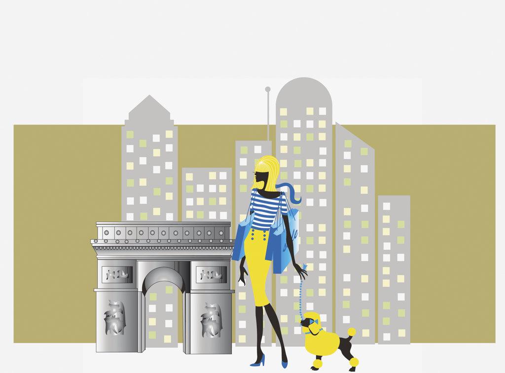 Glamorous woman walking dog in city : Stock Photo