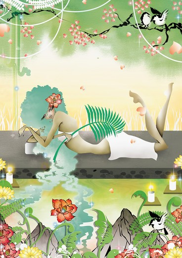 Woman relaxing in natural spa : Stock Photo