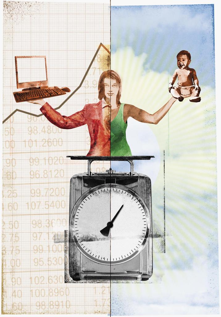 Stock Photo: 1849-666 Woman balancing career and family
