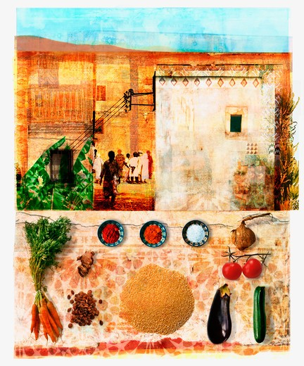 Stock Photo: 1849-698 Moroccan food and culture collage