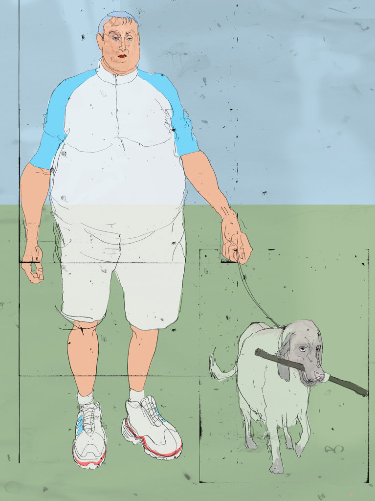 Overweight man walking dog : Stock Photo