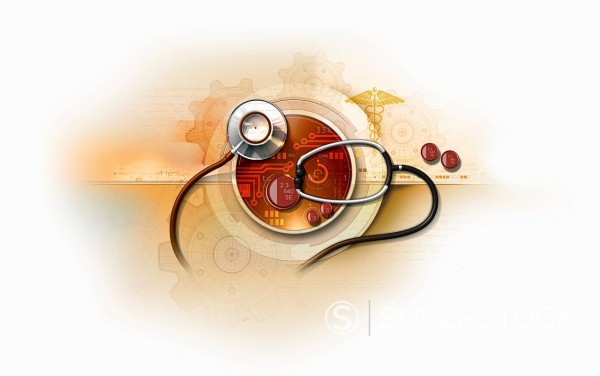 Stethoscope over circuit board with caduceus and cogs : Stock Photo