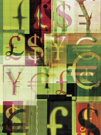 Collage of foreign currency symbols : Stock Photo