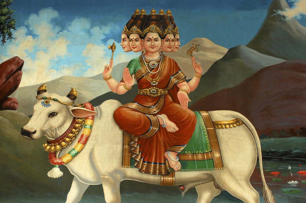 Singapore, , Colourful Mural In An Indian Hindu Temple : Stock Photo