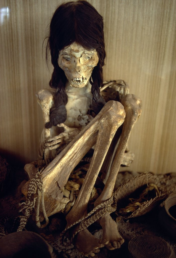 Chile, Antofagasta, San Pedro De Atacama, Chinchorro Mummy. Mummified Girl. : Stock Photo